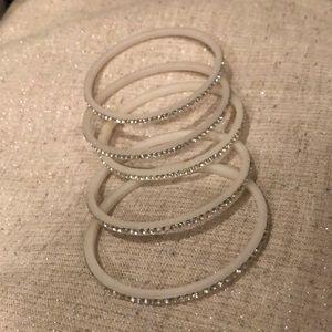 🔴3/$15 Set of 5 white rhinestone bangle bracelet